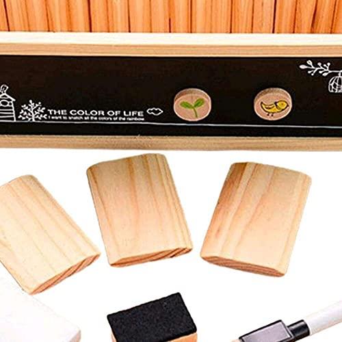 zhaita Soporte para bolígrafo de escritorio Soporte para lápiz tipo ranura de taza de doble cara titular de la pluma de madera organizador de escritorio titular de cepillo