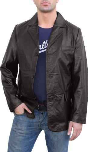 German Wear Lederjacke Lederblazer aus Lammnappa Echtleder Jacke Blazer Leder braun, Größe:M