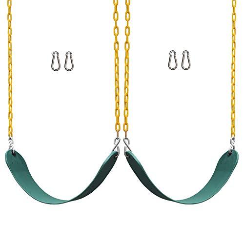 2 Pack Green Swings Asientos de Trabajo Pesado 66'Cadena de plástico Recubierto - Patio de Juegos al Aire Libre EVA Swing Set Accesorios Reemplazo Snap Ganchos