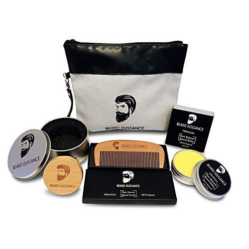 """BEARD ELEGANCE Bartpflege-Set""""Smooth-Style"""" - Premium Bart-Pflege-Set bestehend aus Herren-Kosmetik-Beutel, Holzkamm, Bart Balsam, runde Bürste in silberner Dose"""