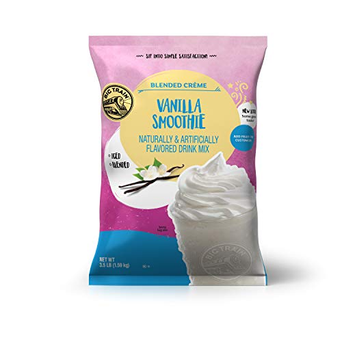 Big Train BlendedCreme Mix Base Mix Vanilla Smoothie 3.5 Lb (1 Count) Powdered Instant Coffee Drink Mix, Serve Hot or Cold, Makes Blended Frappe Drinks