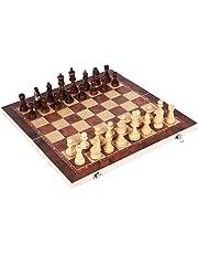 Ohomr 3 en 1 échiquier pliant échecs grands échecs en bois pour débutants jeux d'échecs de voyage portables jeu d'échecs pour enfants et adultes - 44 * 44 cm
