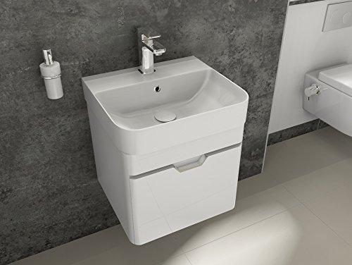Aqua Bagno Badmöbel-Set Piccolo Waschtisch mit Unterschrank aus Keramik Gäste-WC Weiß Hochglanz   48 cm