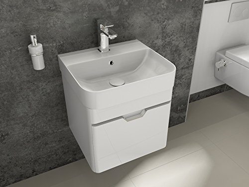 Aqua Bagno Badmöbel-Set Piccolo Waschtisch mit Unterschrank aus Keramik Gäste-WC Weiß Hochglanz | 48 cm