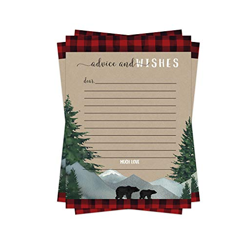 Lumberjack Advice Cards (25 Pack) Boys Baby Shower Games - Well Wishes - Birthday Time Capsule Ideas – Little Bear - Red and Black Plaid Party Supplies - Flannel-Up
