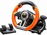 QDY Volante da Corsa per PC, Volante da Corsa Universale per Auto USB da 180 Gradi con Pedali