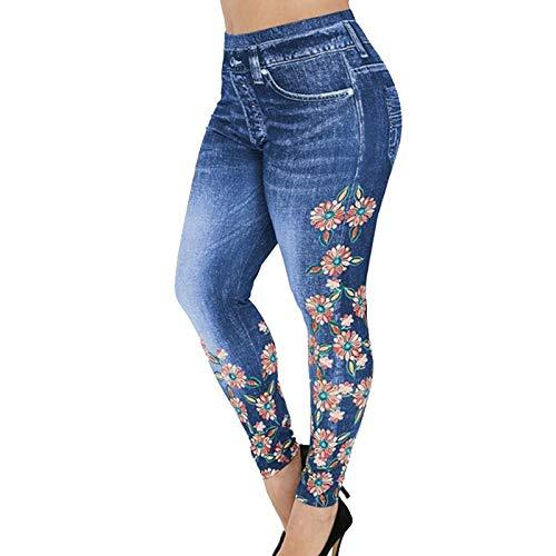 WWLIN Pantalones Vaqueros Falsos de Mezclilla de imitación con Estampado Floral de Cintura Alta para Mujer Leggings Casuales Ajustados Leggings Ajustados sin Costuras