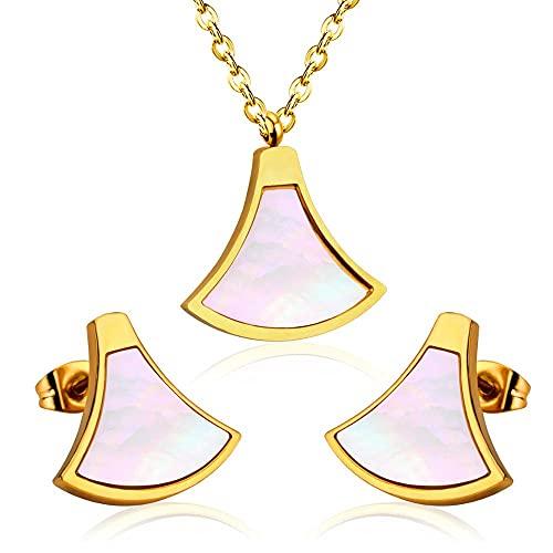 HMANE Conjunto de joyería Nupcial de Boda de Acero Dorado, Collar con Colgante de Concha, Pendientes de botón, Conjuntos de Joyas Indias para Mujeres