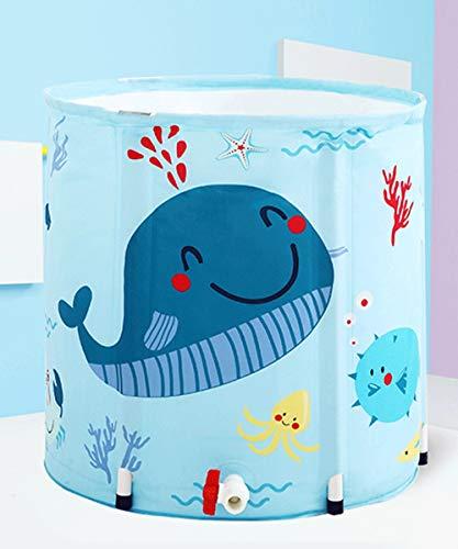 Mlshbt bathtub Small Size Tragbarer Studenten Faltbare Badewannen Folding Bad Barrel Kinder Tubs Badewanne Thick Kunststoff Baby-Bad Barrel Kinder-Badebottich Blaue Farbe (Size : 50x55cm)
