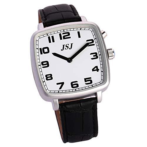Reloj de pulsera cuadrado con función de despertador, función de voz, hora y fecha, esfera blanca, correa de piel negra TGSW-1706G