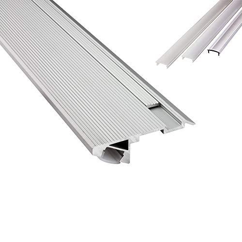 B-WARE - T-STA 30° LED Alu Treppenprofil Treppenwinkel Profil Stufen silber + Abdeckung Abschlussleiste Fliesen für LED-Streifen-Strip 2m milky