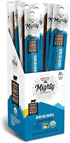 Organic Valley Mighty Organic 100 Grass Fed Organic Beef Sticks Beef Jerky Sticks Original 24 product image