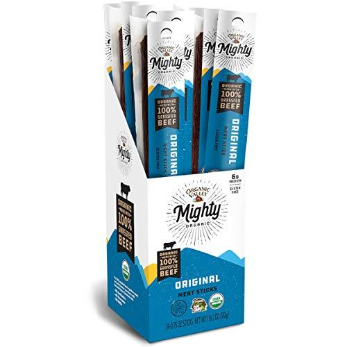 Organic Valley Mighty Organic 100% Grass Fed Organic Beef Sticks, Beef Jerky Sticks, Original, 24 Pack, 0.75 oz