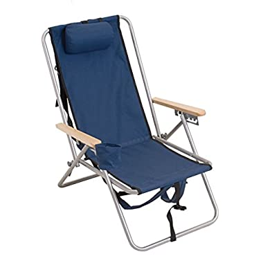 High Back Steel Backpack Beach Chair by WearEver - Blue