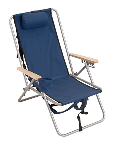 Rio Gear Original Outdoor Steel Folding Backpack Chair, Navy Blue