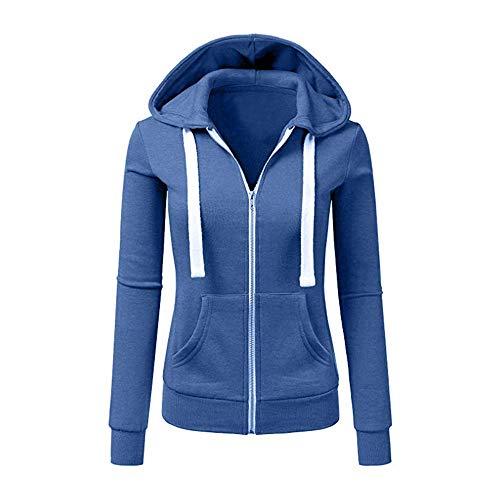 Newbestyle Jacke Damen Sweatjacke Hoodie Sweatshirtjacke Pullover Oberteile Kapuzenpullover (Denim Blau, M)