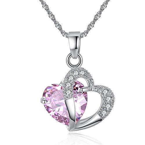 Damas Collar Collar LadyModa Corazón Colgante Collar Cristal Joyería Niñas Joyería Mujeres Joyería Rosa