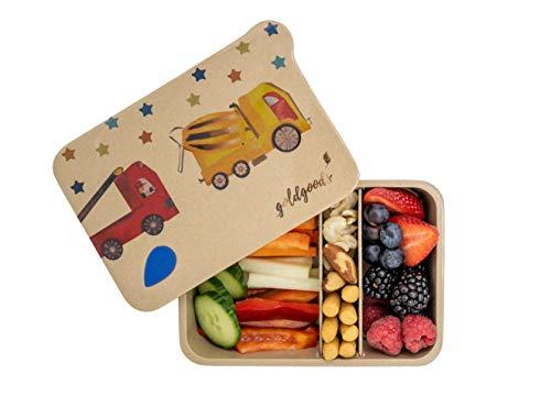 goldgoods® Bento Lunchbox aus Reishülsen - hochwertige Jausenbox für Kinder - nachhaltige Brotdose mit verschiedenen Fächern - Zero Waste - mit verspieltem Feuerwehrauto-Motiv