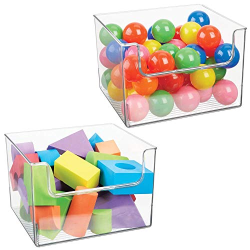 mDesign Deep Plastic Home Storage Organizer Bin for Cube Furniture Shelving in Office, Entryway, Closet, Cabinet, Bedroom, Laundry Room, Nursery, Kids Toy Room - Open Front, 12' Wide, 2 Pack - Clear