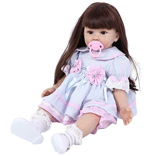 """Boneca Reborn Baby, 24 """"Silicone Vinyl Lifelike Flexível Peso Reborn Girl Doll de corpo inteiro Macio Realista Boneca Reborn Girl com vestido roxo e acessórios de brinquedo para meninas de 3 anos de idade Presentes / brinquedos para crianças (1 #)"""