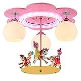 WYBW Candelabros Domésticos, Iluminación de la Novedad, Lámpara de Araña de Luz de Dibujos Animados de Princesa Lámpara de Techo de Carrusel Lámpara de Montaje de Luz de Techo para Niños Proyector de
