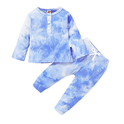 2PCS Baby Girls Clothes Boy Outfit Unisex Pajamas,Toddler Pjs Long Sleeve Shirt Jumper Top+Long Pants Ribbed Knitted Sleepwear Set(Sky Blue,18-24 Months)