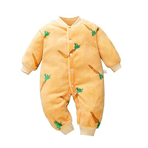 Nuevo Nacido Bebé Niña Niño Botón Frontal De Lana Mono De Vaca Estampado De Leopardo De Manga Larga De Una Pieza Ropa Trajes, amarillo, 9 meses