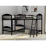 Twin Loft Bed for Kids, Wood Loft Bed L-Shaped Corner Bunk Bed Frame 3 Bed Bunk Loft Bed with Full Guardrails and Flat Ladder (Espresso)