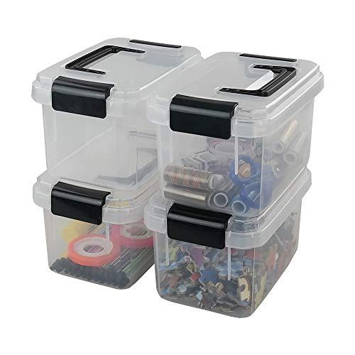 Dehouse - Mini scatola di plastica con chiusura a scatto, trasparente, 4 confezioni