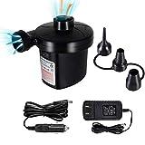 FBve Electric Air Pump, 100-240V AC/12V DC Portable Electric Air Mattress Pump, Quick-Fill Inflator/...
