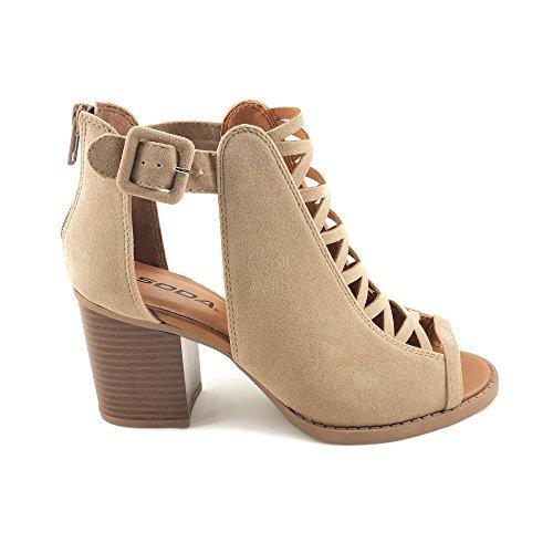 Soda Womens Fahsoin Aran Open Toe Heel Sandal (8 M US, Taupe New)