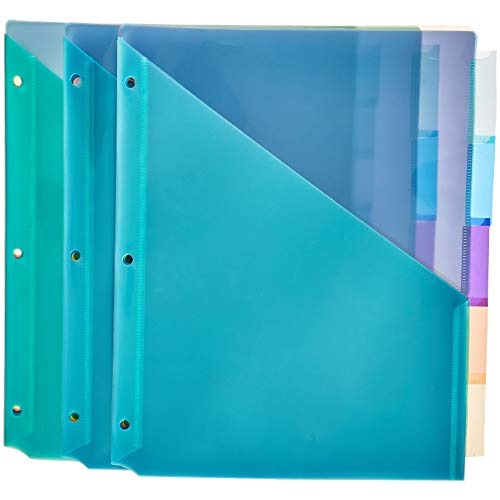 AmazonBasics Two Pocket Plastic Dividers with 5 Tabs, Multicolor, Pack of 3 Sets