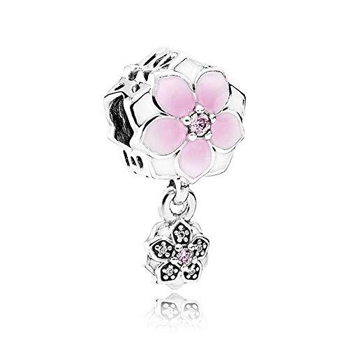 ZHANGCHEN 925 Cuentas de Plata esterlina Magnolia Bloom Colgante Encanto Apto para Mujeres de Moda Pan Pulsera Brazalete Regalo joyería DIY