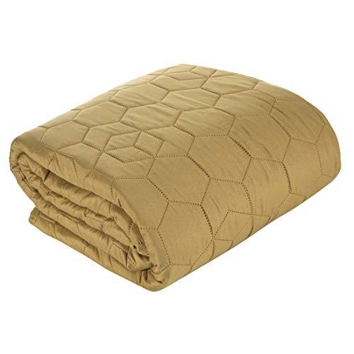 Deisgn91 Bettüberwurf Schlicht Tagesdecke Honigwabe Muster Gesteppte Decke Überwurf Steppdecke Schlafzimmer Wohnzimmer Gästezimmer Lounge, Olivgrün, 220x240cm