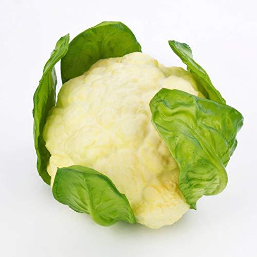 artplants.de Set 3 x Künstlicher Blumenkohl, weiß - grün, 10,5cm, Ø 18cm - Künstliches Gemüse - Deko Gemüse