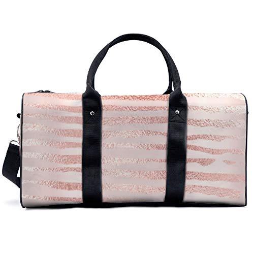 Sports Gym Bag,Pink Rose Gold Metallic Stripes Lines Girl Handbag Yoga Bag Shoulder Tote Weekend Bag Travel Holdall Duffel Bag for Adult Men Women