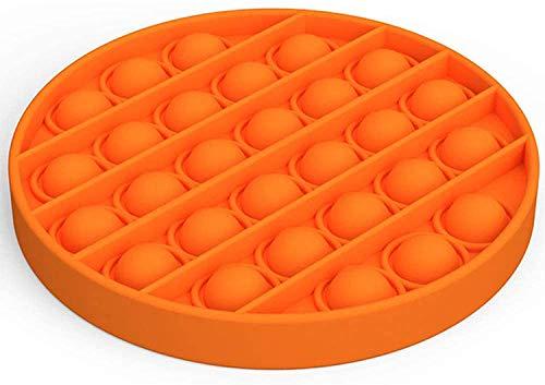 Push pop pop Bubble Sensory Fidget Toy,Autism Special Needs Stress Reliever Silicone Stress Reliever Toy,Squeeze Sensory Toy (Orange)