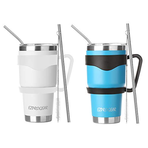 Ezprogear 30 oz 2 Pack Stainless Steel Water Tumbler Double Wall Vacuum Insulated with Straws and Handle 30 oz 2 Pack SkyBlueWhite