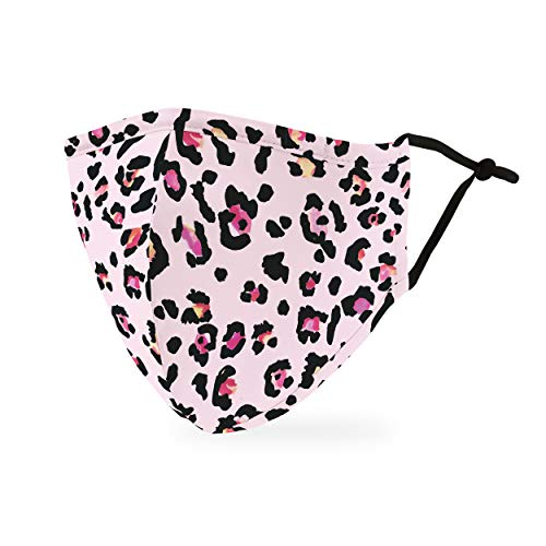 Weddingstar Washable Cloth Face Mask Reusable and Adjustable Protective Fabric Face Cover w/Dust Filter Pocket - Pink Leopard Print
