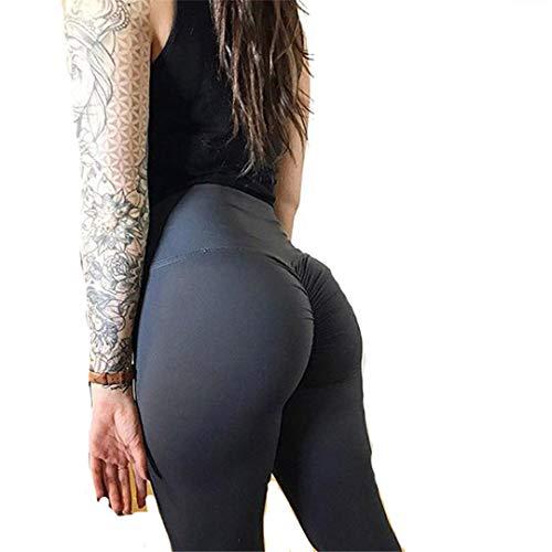 SOFTDUPANTS Leggings de Cintura para Mujer, Ropa Deportiva, Pantalones de Culturismo con Pliegues Ajustados, Mallas Sexis Femeninas Athleisure 7199 Black S