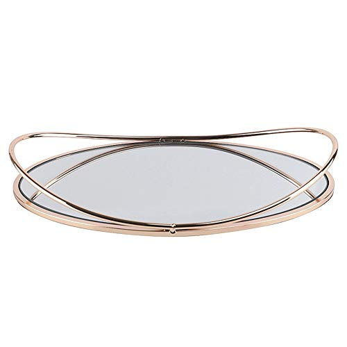 ZZPH Jewelry Trays Coffee Table Perfume Living Room Kitchen Serving Tray Beautiful Modern Elegant Gold Metal Rectangle Decorative for Vanity Dresser Bathroom Bedroom (Color : Gold, Size : 34x21x6cm)