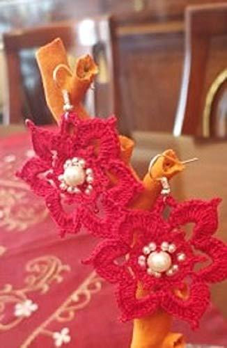 orecchini rossi uncinetto con perline bianche