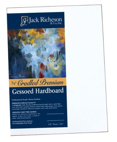 Jack Richeson 3/4-Inch Premium Tempered Gessoed Hardboard Panel, 12-Inch by 16-Inch