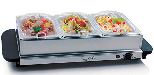 MegaChef Buffet Server & Food Warmer With 3 Removable Sectional Trays, Heated Warming Tray and Removable Tray Frame
