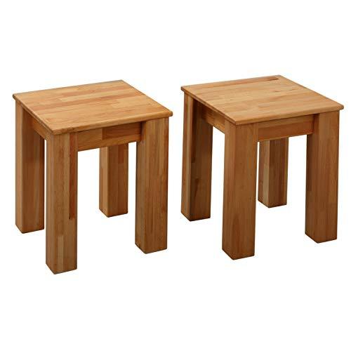 Krok Wood 2x Tabouret de cuisine Bonn en hêtre en bois massif 35x35x45 cm