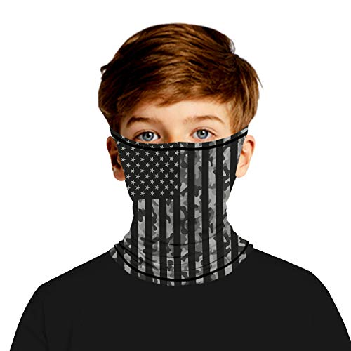 Ainuno Bandana Mask for Kids Face Wrap Tube Mask Neck Gaiter Balaclava with Ear Loops for Sun Protection Outdoor Fishing Hiking Cycling Camo and American Flag Grey 11-14 Years