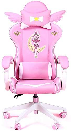 LIUBINGER Drehbarer Bürostuhl Gaming Chair, Gaming Chair Mädchen Reclining Computer Stuhl Home Fashion Live-Stuhl Spiel Sessellift Büro Boss Stuhl (Color : A)