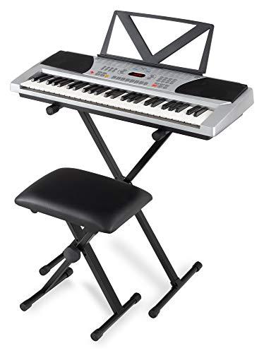 Funkey 54 Keyboard Super Kit - 54 Tasten - ideal für Einsteiger und Kinder - 100 Sounds und Begleitautomatik mit 100 Rhythmen - Set inklusive Keyboardständer, Hocker und Notenhalter - silber