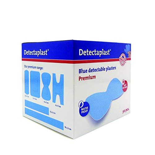 Detectaplast Pflaster wasserfest Premium, blaue Wundpflaster für den Lebensmittelbereich, detektierbare Pflaster für Erste Hilfe in der Gastro, 68 x 38 mm, Fingerkuppenpflaster, 50 Stück