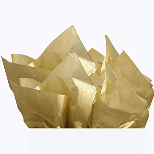 UNIQOOO 40 Sheets Premium Metallic Gold Tissue Gift Wrap Paper Bulk - Perfect Gold Tissue Paper for Gift Bags, Wedding, Party and DIY Crafts - Recyclable Gift Wrapping Accessory - 20' X 26' Each